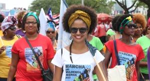 Brasília- DF 18-11-2015 Foto Lula Marques/Agência PT   Marcha da mulheres negras. Deputado disutiu com manifestantes golpista e a polícia jogou gás de pimenta.