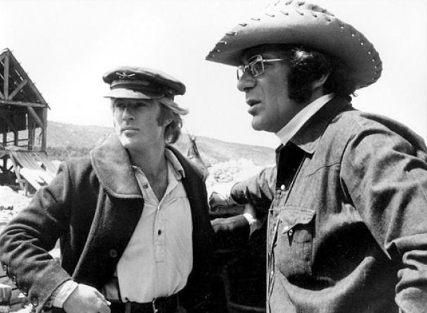 Robert Redford e Sydney Pollack, durante a produção de Jeremiah Johnson